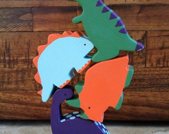 Wooden Dinosaur Toys, Teething Toy, Baby Shower Gift, Decoration