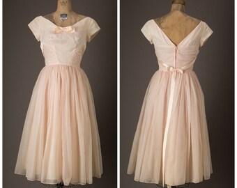 1950s Emma Domb Pink Prom Dress