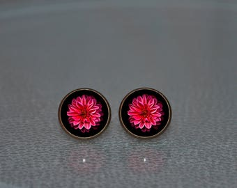 Peony earrings, peony stud earrings, red peony posts, peony studs, Peony Jewelry, pink peony, earrings with peony bridal flower Peony flower