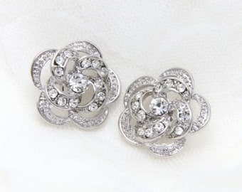 2 pcs Flower Rhinestone Button Flat back Crystal Embellishment Bridal Wedding Invitation 25mm Rhodium Plated 3D Rose Flower centers