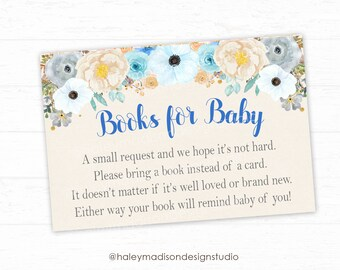 Blue Floral Baby Shower, Books for Baby cards, whimsical Flowers Baby shower Book Cards, Rustic Flowers Baby Shower DIGITAL FILE