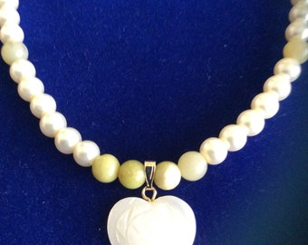 Jade & Pearl Necklace Carved Heart Pendant
