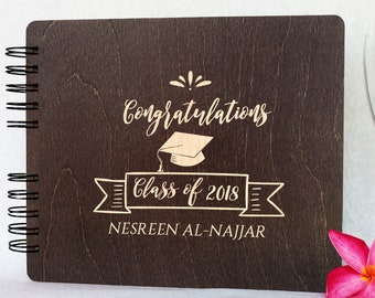 Graduation Guest Book Graduation Gifts Rustic Personalized Class of 2018 Wood Graduation Decoration Supplies Guestbook Polaroid Photo Album