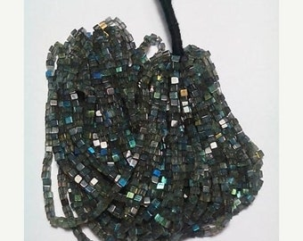 80% OFF SALE Labradorite Box Shape Beads 16 Inches Strand , 3 MM