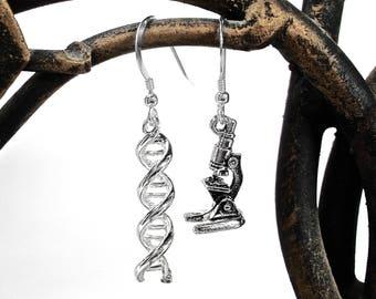 Science Earrings - DNA and Microscope Earrings
