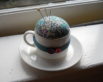 Pincushion - Small White (Teal) Tea Cup & Saucer - Repurposed