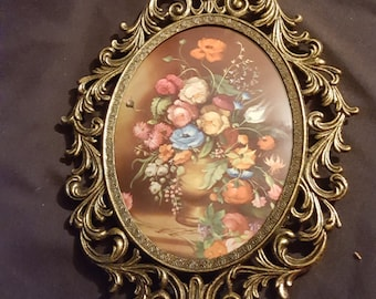 Vintage italian flower print ornate brass metal frame convex glass floral home wall decor retro picture vivid colors beautiful
