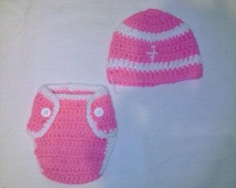 Crochet hot pink football inspired diaper set, newborn girl diaper set, football photography prop, crochet football diaper set, crochet hat
