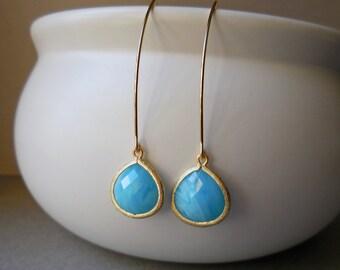 Sky blue drops long glass earrings elegant rose cut faceted fancy dangle drop earrings for women rosecut baroque marquise larimar blue