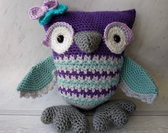 Owl Pillow Plush Amigurmi Toy Purple Teal Gray