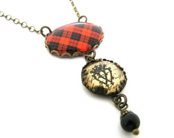 Bijoux de Tartan écossais Tartan collier MacLeod de Raasay collier Luckenbooth charme et de perle de cristal Swarovski noir mystique