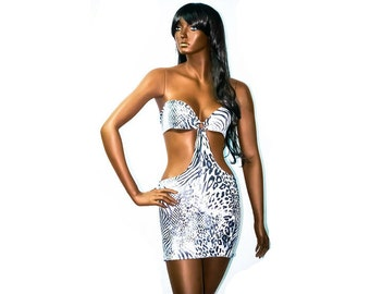 Exotic Dancewear White Animal Print Shape Flattering Short Dress