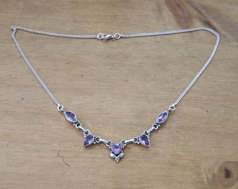 Sterling Silver and Amethyst 925 Vintage Necklace