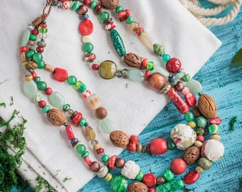 Red green necklace_ivory brown_handmade lampwork_textile ceramic wood_multistrand_boho chic wedding_tribal gypsy Strega_Frida Kahlo Mexico