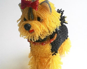 "Pattern / Tutorial Beaded Ornament -Master class to create "" Yorkshire Terrier Beaded Lala"""