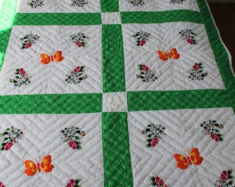 Hand embroidered / hand quilted Butterfields & Roses Throw