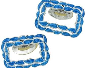 Vintage Tip Toe Enamel Blue Silver Tone Shoe Clip Big 1960s