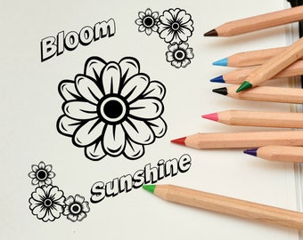Colouring Page, Bloom and Sunshine, Digital Download