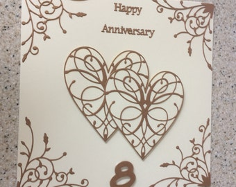 "Handmade Bronze Wedding Anniversary Card 8th Happy Wedding Anniversary Large 8 "" Bronze Pearlescent Card hearts 8"