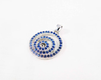 PU26 - delicate round spiral with blue rhinestone Crystal Silver Pendant