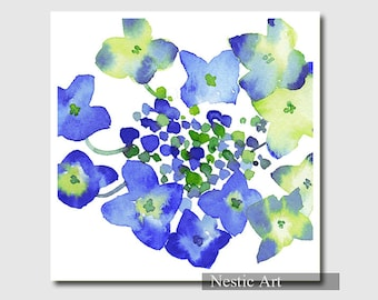 Hydrangea, 8x8, 11x14, 8x10, 5x7, watercolor painting, watery painting, Hydrangea, flowers, blue, Hydrangea print, Hydrangea illustration