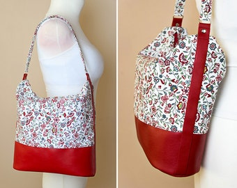 Hobo bag sewing pattern and tutorial, shoulder purse, floral handbag - t008