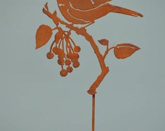 Black-Capped Chickadee on Wild Cherries | Wild Bird Art | Chickadee Art | Winter Bird Art | Planter Stake | Bird Lover Gift | Rusty | S926R