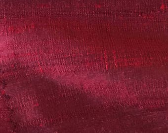 "WINE [1501]   -  Pure Silk Dupioni Fabric - 23"" x 54"" cut Handwoven -"