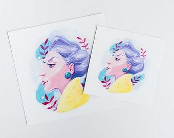 La Cantatrice Illustration Print - Wall Art , Home Decor Print, Gouache Illustration,  Fashion Illustration, Retro Illustration