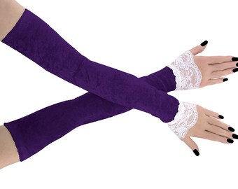 gloves womens Fingerless gloves arm warmers velvet gloves evening gloves opera gloves fingerless formal gloves extra long white purle 1085h