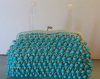 Vintage Robin Egg Blue Raffia Clutch With Bead Accents