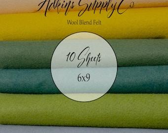 10 Felt Sheets - Wool Felt Sheets - 6x9 Felt Sheets - Wool Blend Felt - Choose Your Colors - Wool Fabric