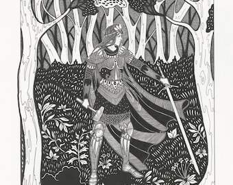 Eöl forges the dread sword ... Silmarillion Lord of the Rings Tolkien art nouveau fantasy pen and ink drawing, illustration artwork home