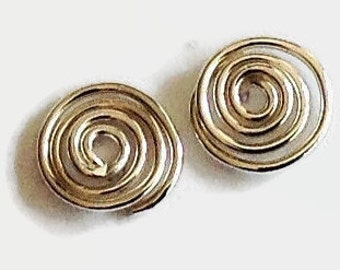Sterling Silver Studs Handmade, Minimalist Jewelry, Handcrafted Artisan Earrings, Coils, Everyday Earrings,