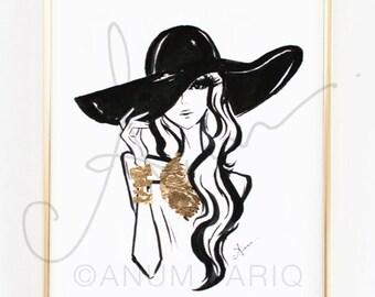 Fashion Illustration, Black Hat with Gold Leaf