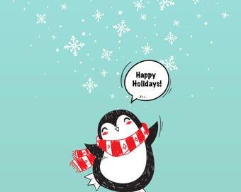 Digital Card - Happy Holidays Card - Christmas Card - Holiday Card - Christmas Penguin - Winter Penguin -