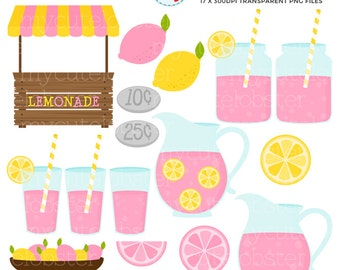 Pink Lemonade Stand Clipart Set - clip art set of pink lemonade, lemonade stand - personal use, small commercial use, instant download