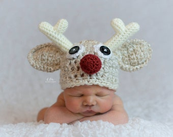 Baby Christmas Outfit - Rudolph Hat - Newborn Christmas Outfit - Christmas Picture Outfit - Baby Christmas Gift - First Christmas Outfit