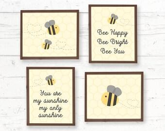 Bumblebee Nursery Wall Art Printable 8x10, Baby Room Decor, Children, Kids Poster, Instant Download