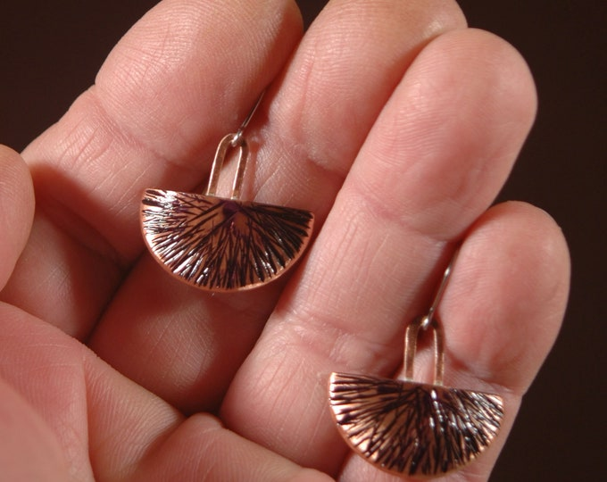 Hammered Copper Earrings-Handmade Forged andTextured Copper Earrings Created by Michael Ferreira on Etsy