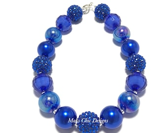 Toddler or Girls Royal Blue Chunky Necklace - Pretty in Blue Chunky Necklace - Princess Blue Necklace - Toddler Beach Chunky Necklace