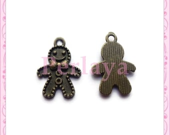 Set of 30 charms gingerbread snowman bronze 18mm REF2287