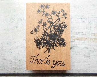 Wooden flowers Butterfly Thank you - unity stamp