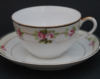 NIPPON Porcelain Teacup and Saucer Set