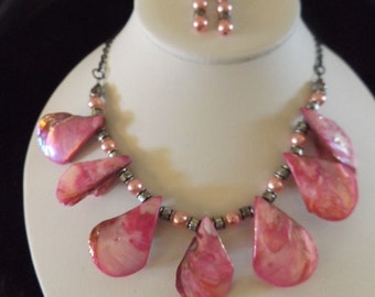 Pretty Pink Petal Necklace and Earrings set