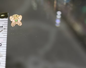Butterfly Brooch with Green Stone
