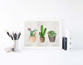 Watercolor Cactus Print » Succulent Print » Cactus Art Print » Tribal Print » Watercolor Print » Western Print » Home Decor » Digital Print