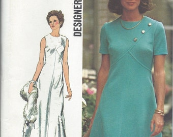 70's Simplicity No. 5911 Sewing Pattern :  A-Line Dress Long or Short - Perfect for Color Blocking  Bust 36 UNCUT