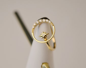 14K Gold Ring for women, Customs design ring, Handmade diamond Ring, Private design, Star Moon Ring, Wedding Ring, Just sold to 10persons!