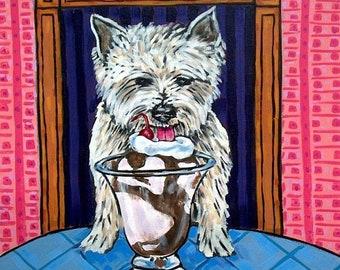 25% off West Highland White Terrier dog tile coaster art gift ice cream